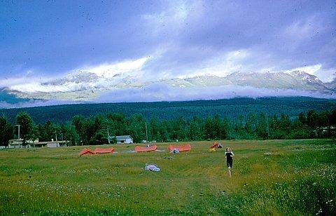 Trans Canada campsite - John Pitman running